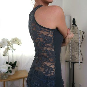 Color Story Charcoal Dark Gray Lace Back Tank L